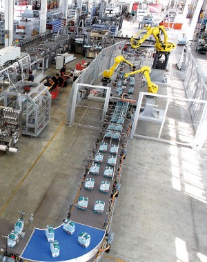 System końca linii instalacji butelkowania