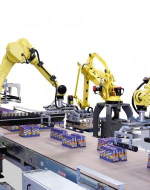 Robot paletyzujący do opakowań na produkty płynne