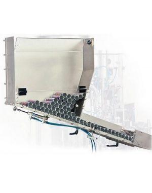 Podajnik tub współpracujący z napełniarką tub w produkcji na małą skalę